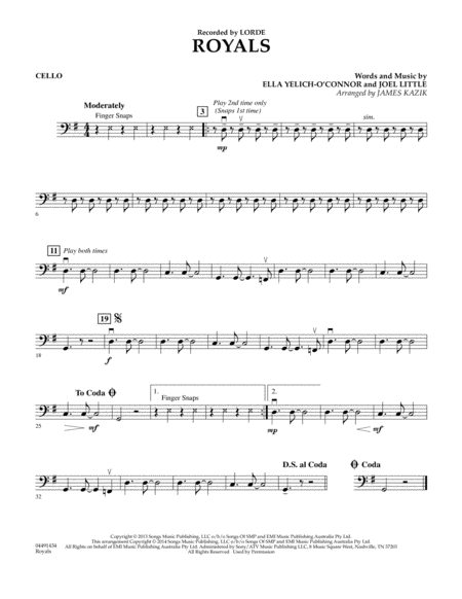 Royals - Cello