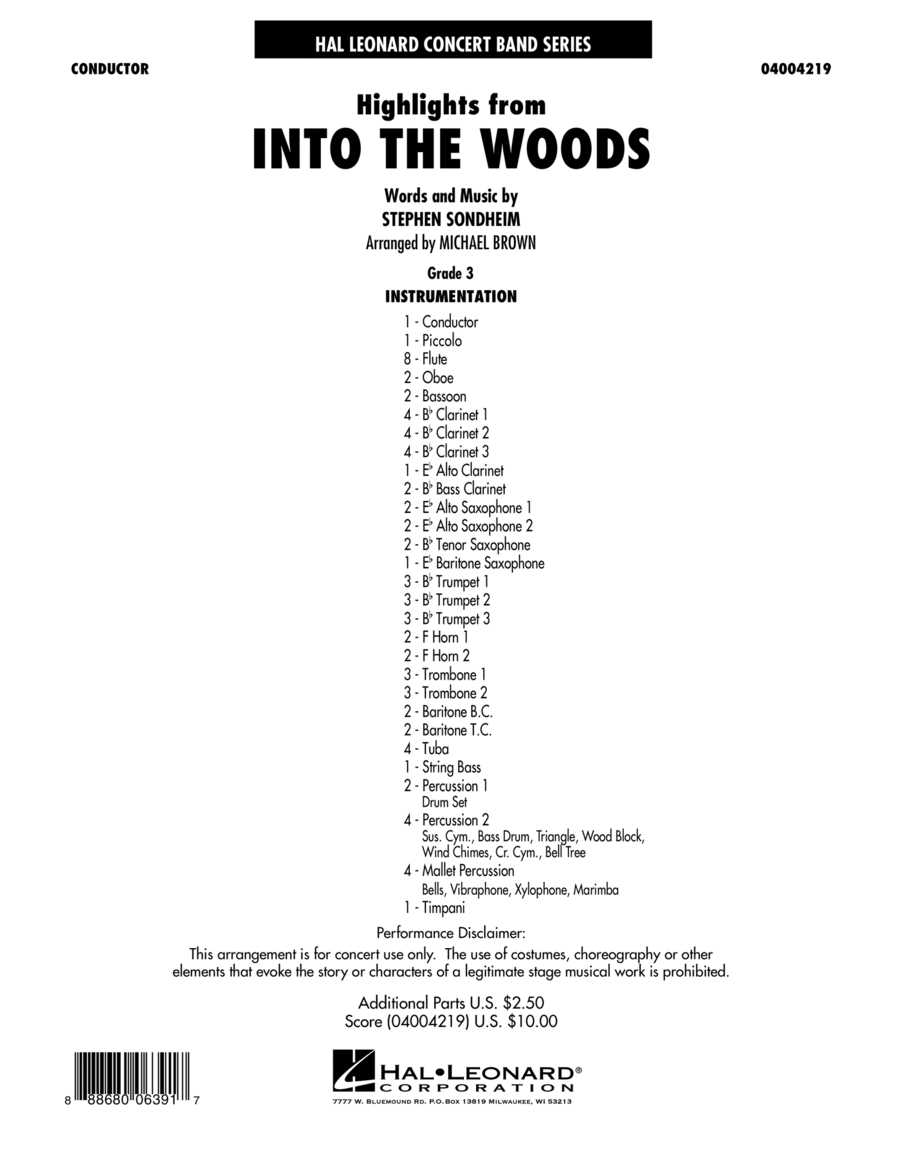 Highlights From Into The Woods - Conductor Score (Full Score)