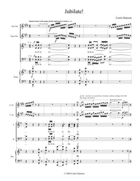 Jubilate! (SATB with alto and tenor sax)