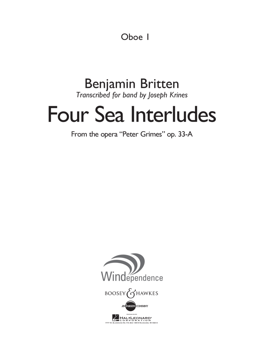 Four Sea Interludes (from Peter Grimes, Op 33A) - Oboe 1