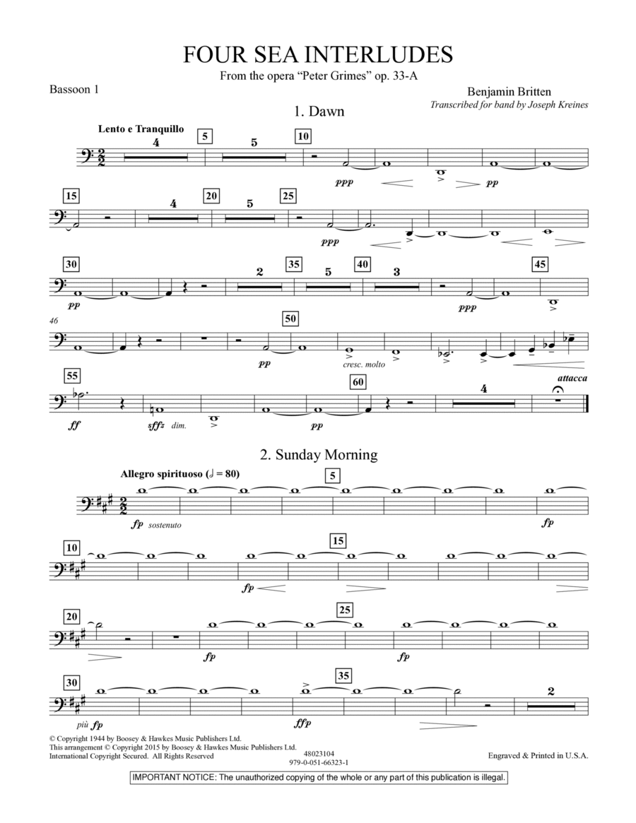 Four Sea Interludes (from Peter Grimes, Op 33A) - Bassoon 1