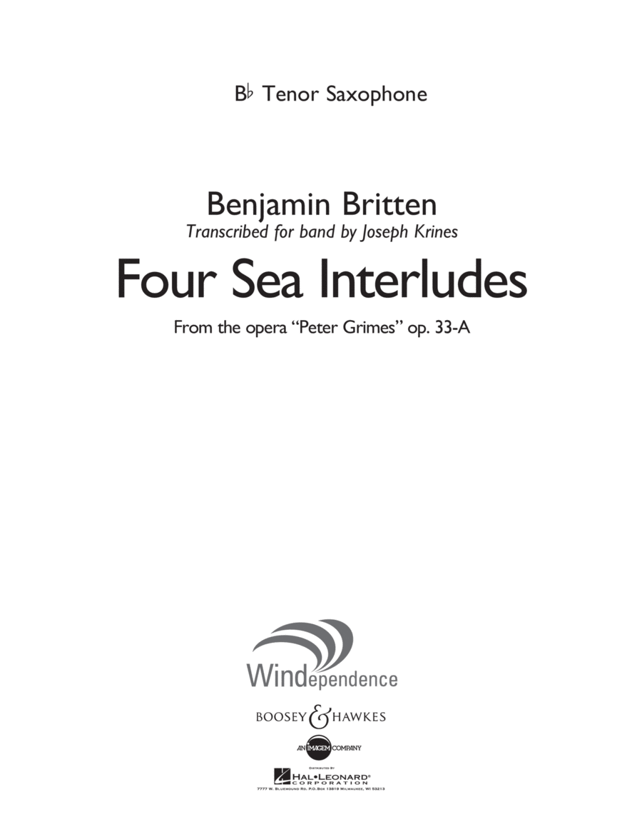 Four Sea Interludes (from Peter Grimes, Op 33A) - Bb Tenor Saxophone
