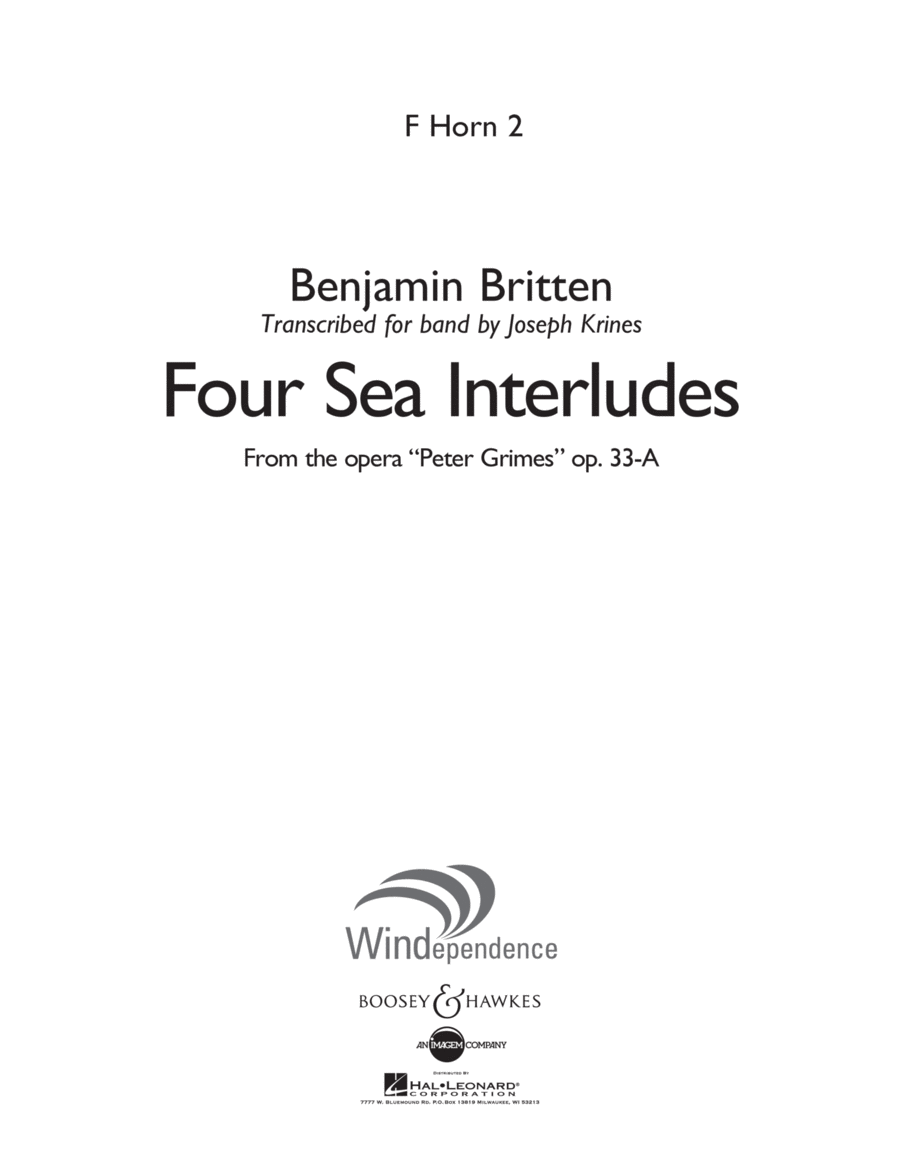 Four Sea Interludes (from Peter Grimes, Op 33A) - F Horn 2