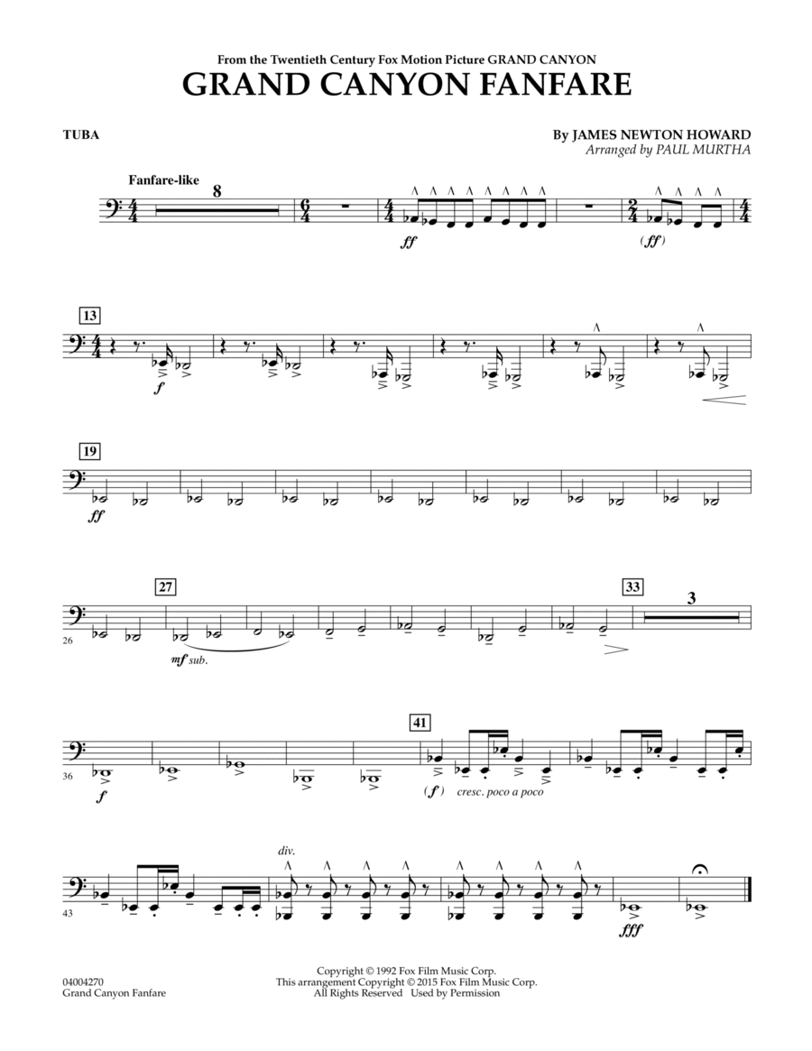 Grand Canyon Fanfare - Tuba