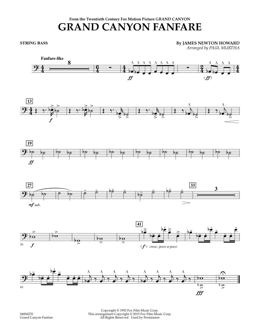 Grand Canyon Fanfare - String Bass