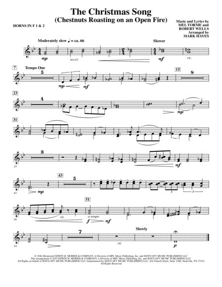 The Christmas Song (Chestnuts Roasting On An Open Fire) - F Horn 1,2