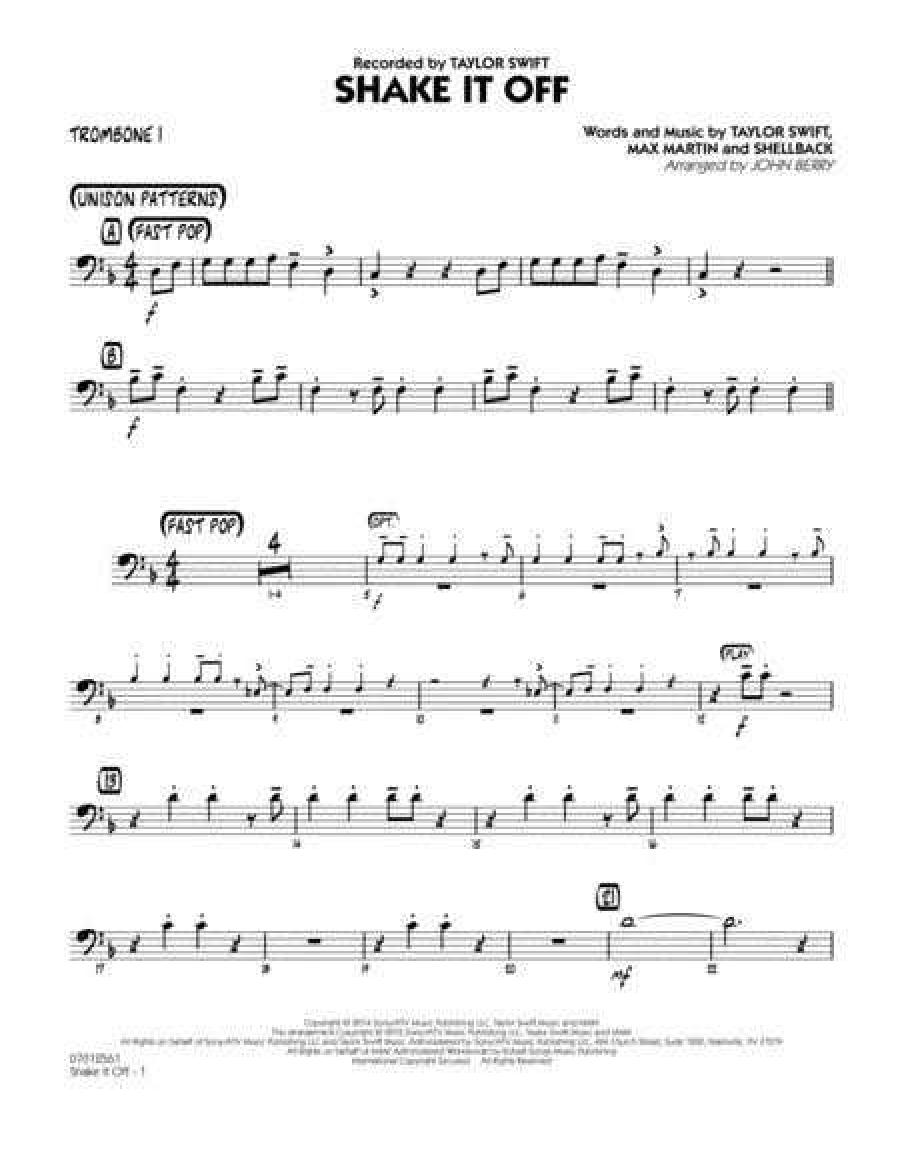 Shake It Off - Trombone 1