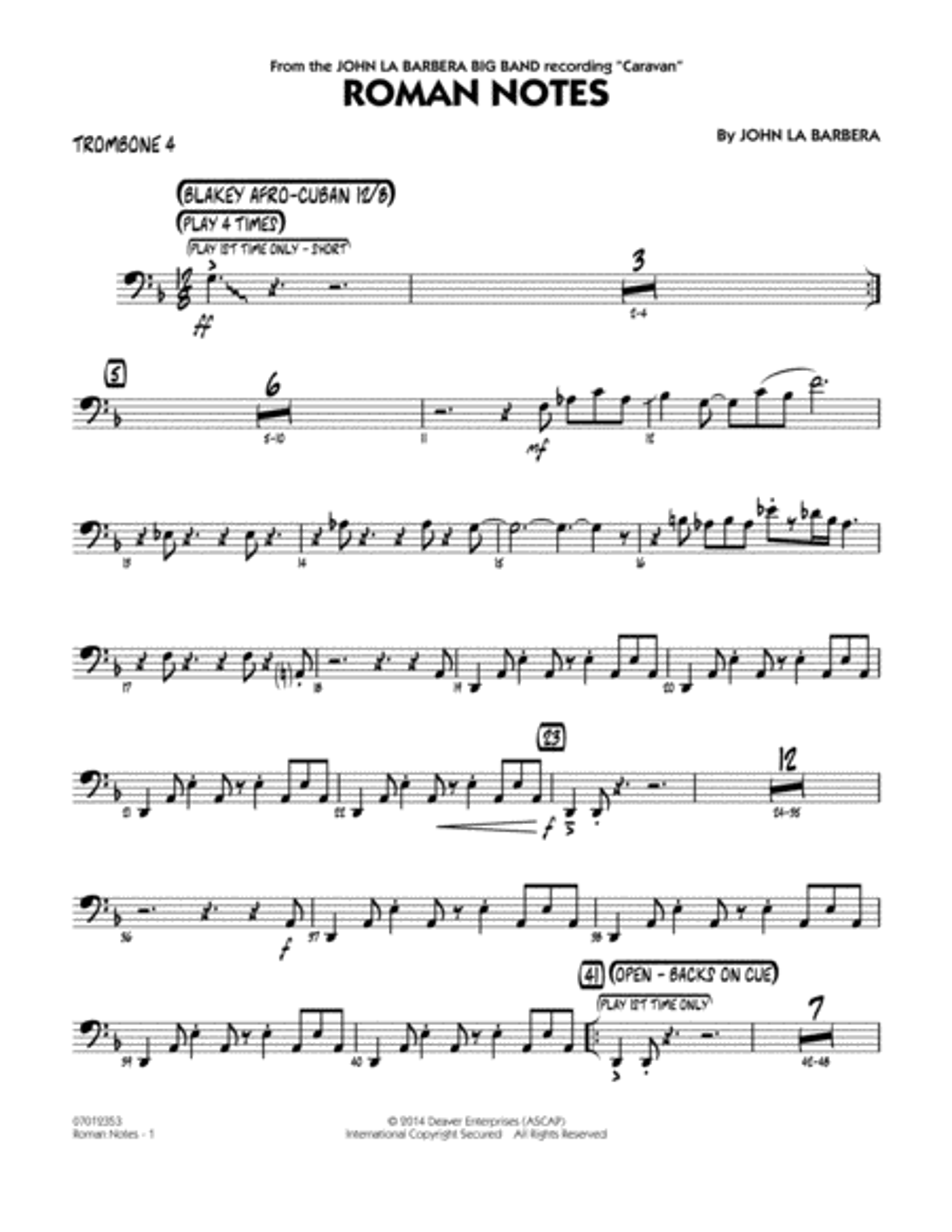 Roman Notes - Trombone 4