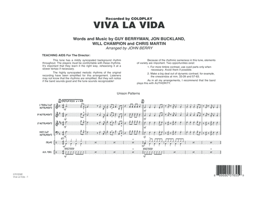 Viva La Vida - Conductor Score (Full Score)