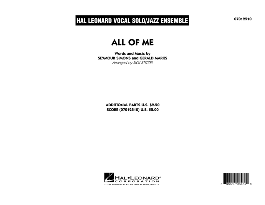All of Me (Key: F) - Conductor Score (Full Score)