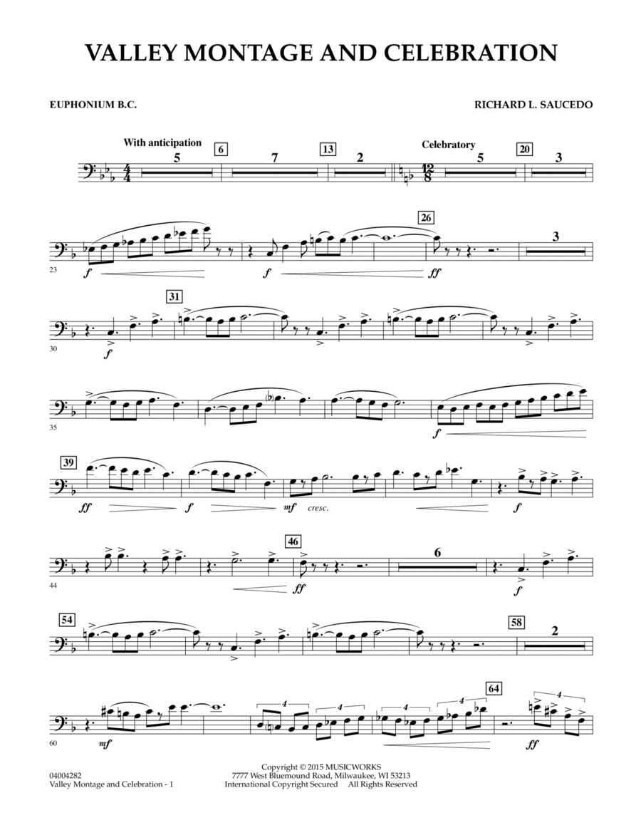 Valley Montage and Celebration - Euphonium in Bass Clef