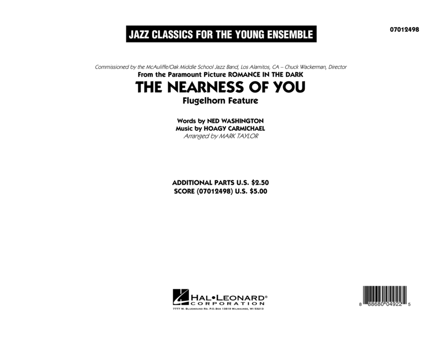 The Nearness of You (Flugelhorn Feature) - Conductor Score (Full Score)