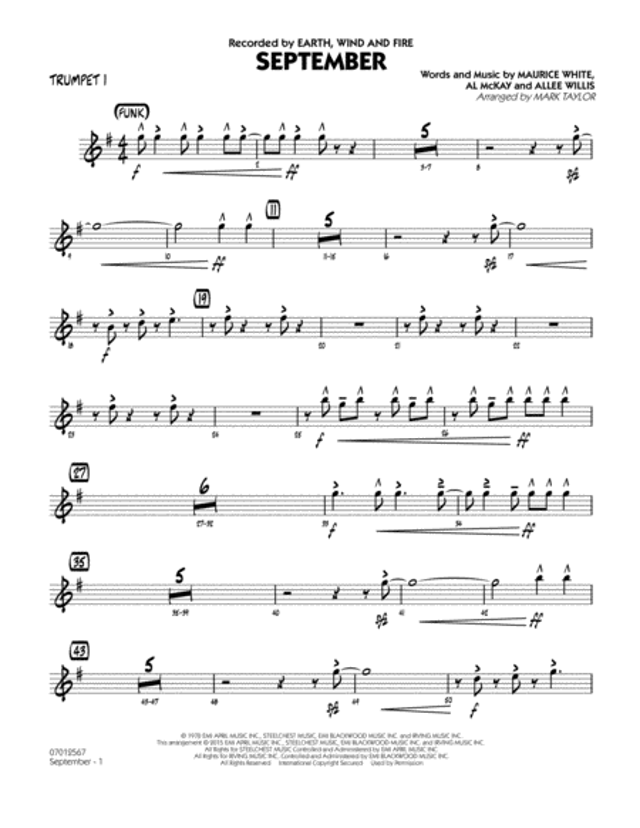 September (Key: C) - Trumpet 1