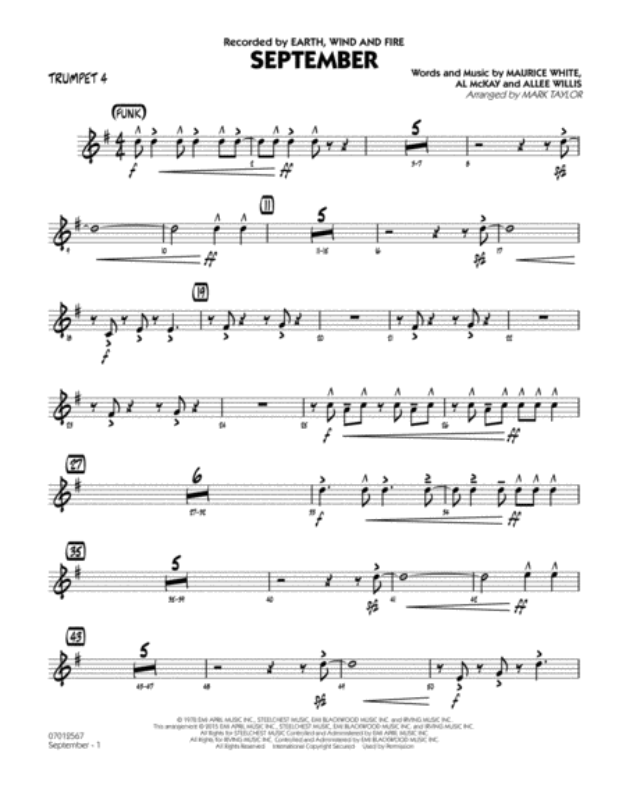 September (Key: C) - Trumpet 4
