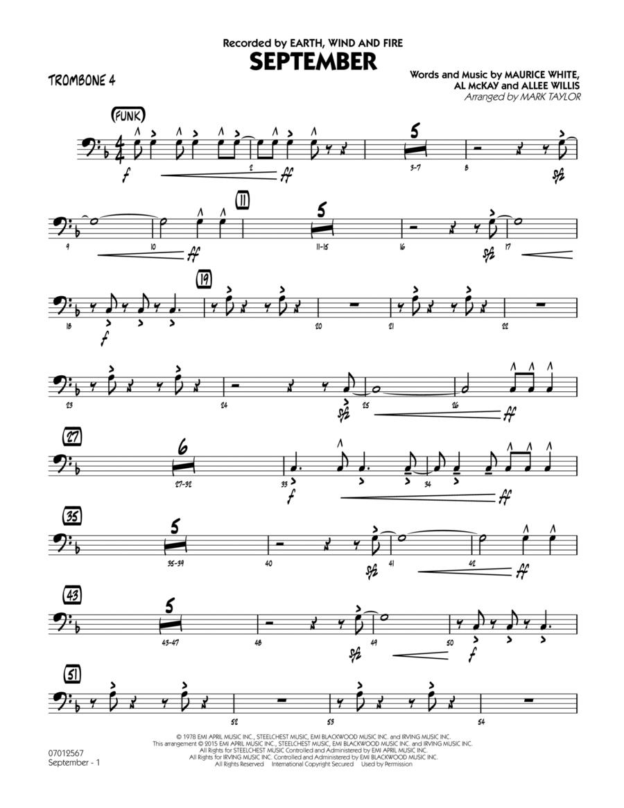 September (Key: C) - Trombone 4