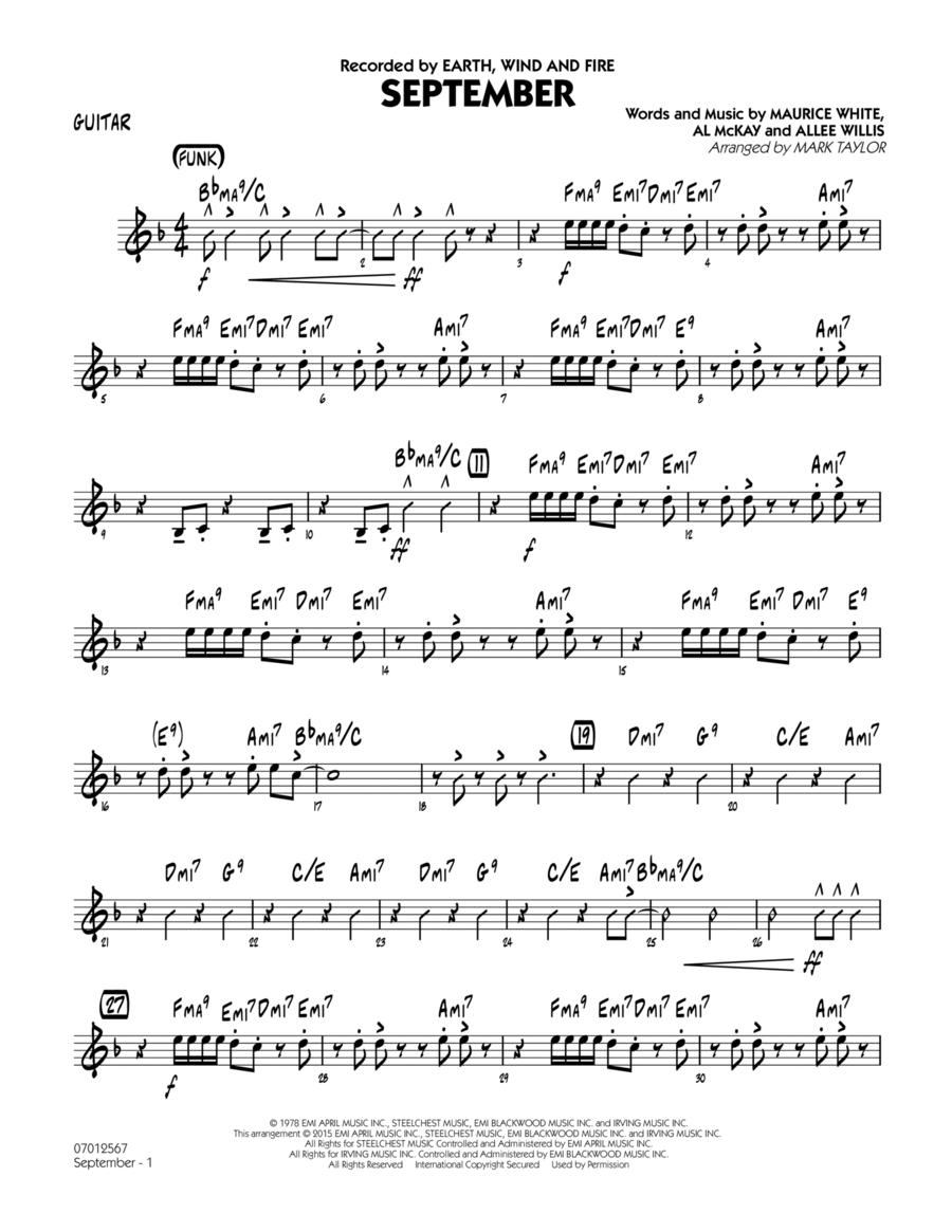 September (Key: C) - Guitar