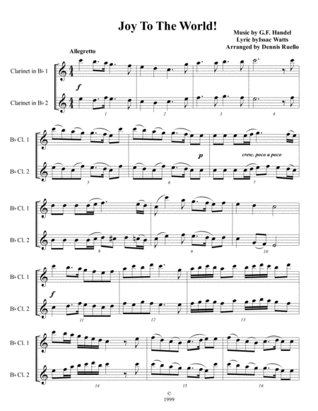 6 Christmas Carols for Clarinet Duet - Intermediate level