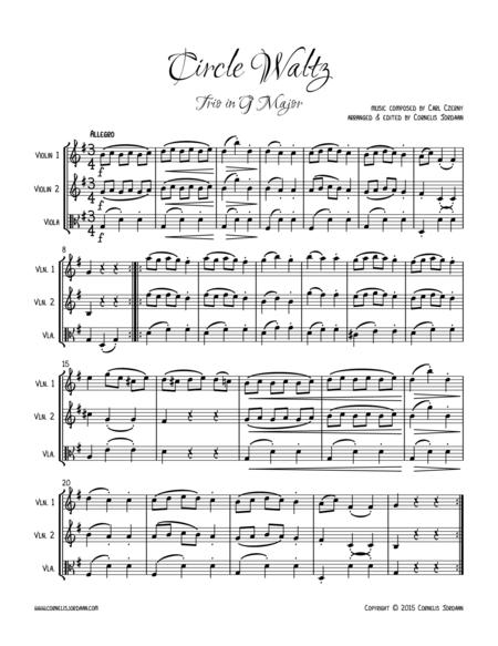 Circle Waltz, easy trio for 2 violins & viola