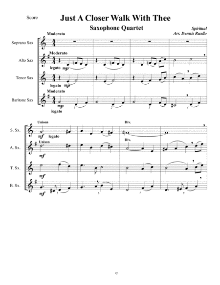 Just A Closer Walk With Thee - Saxophone Quartet -  Jazz Funeral Style - SATB or AATB