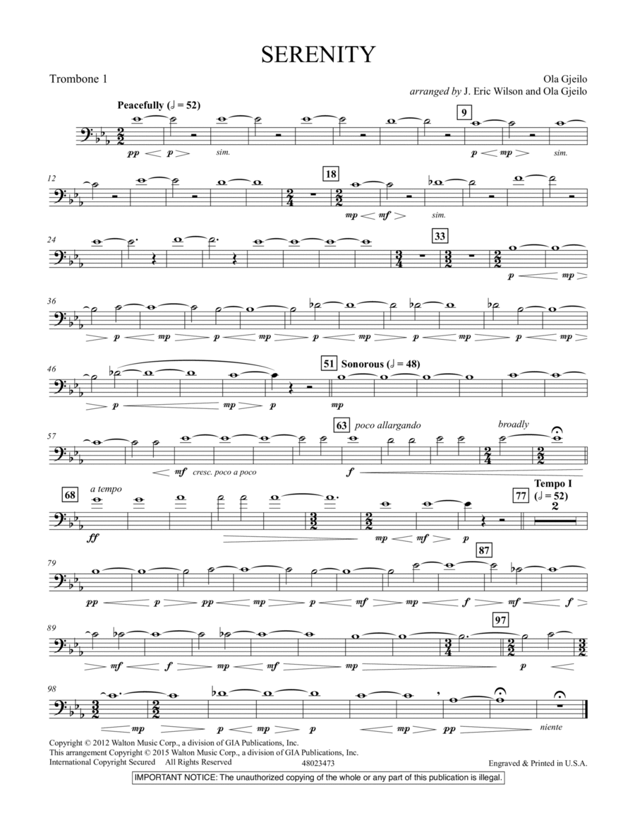 Serenity - Trombone 1