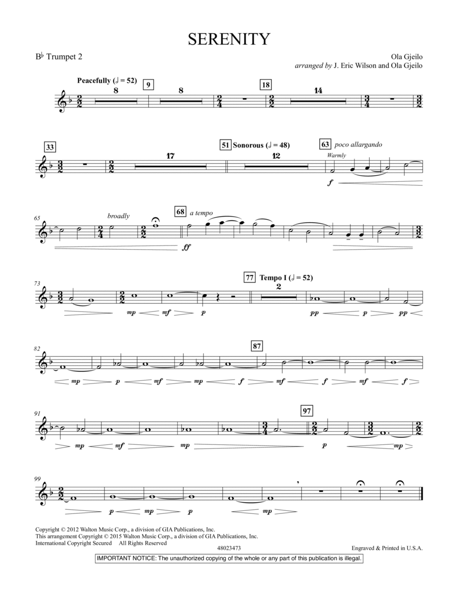 Serenity - Bb Trumpet 2