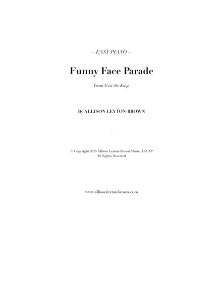 Funny Face Parade - Easy Piano Solo - by Allison Leyton-Brown