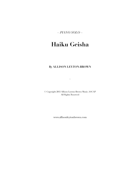 Haiku Geisha - Piano Solo - by Allison Leyton-Brown