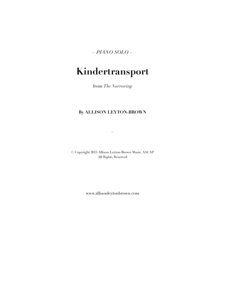 Kindertransport - Evocative Piano Solo - by Allison Leyton-Brown