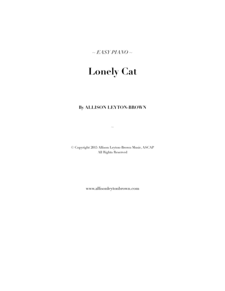 Lonely Cat - Easy Piano Solo - by Allison Leyton-Brown