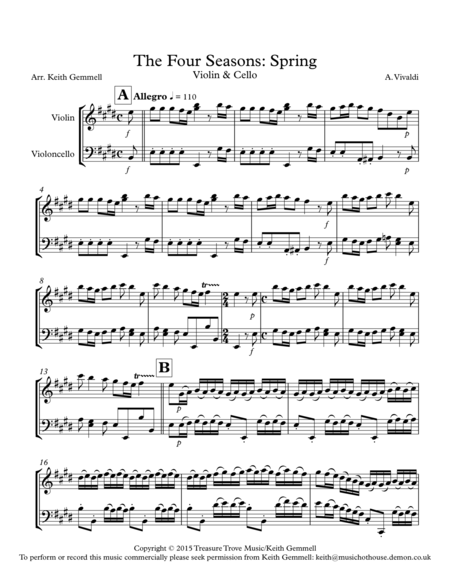 The Four Seasons (Spring) Violin & Cello Duet
