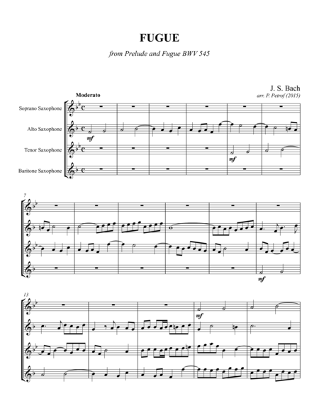 J. S. Bach - FUGUE from Prelude and Fugue BWV 545 for saxophone quartet - Score and parts