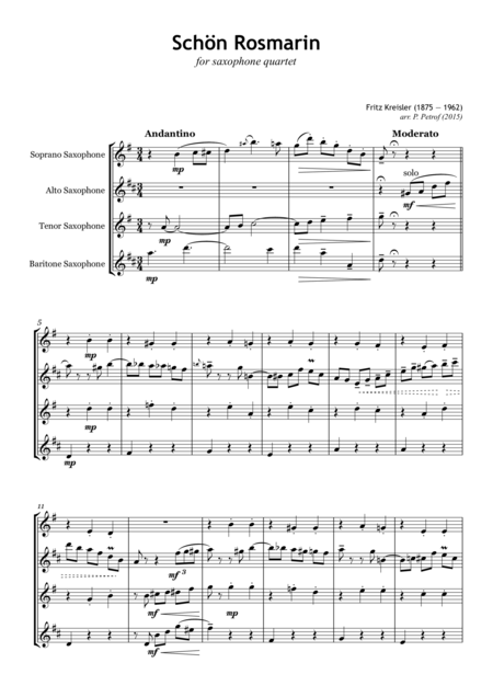 Fritz Kreisler - Schon Rosmarin - for saxophone quartet - Score and parts