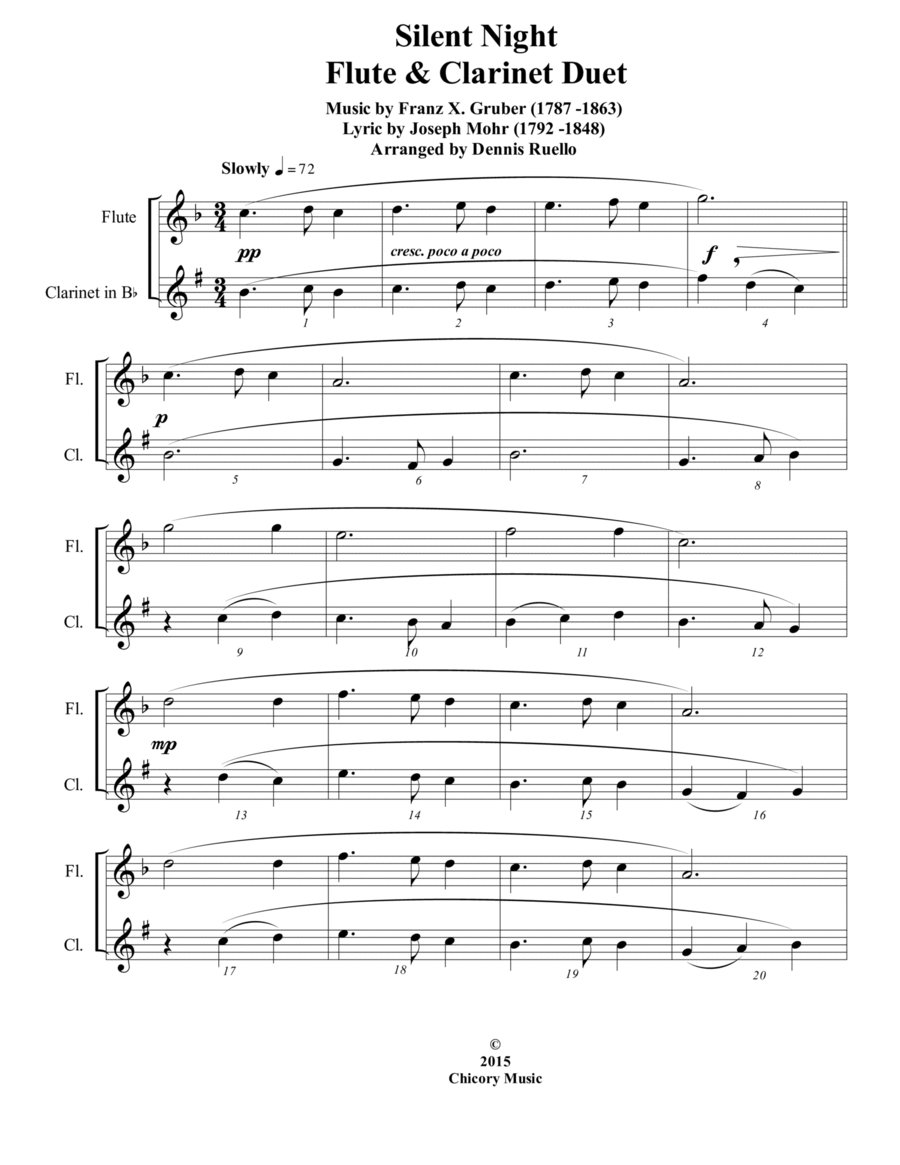 6 Traditional Christmas Carols for Flute and Clarinet Duet - Intermediate level