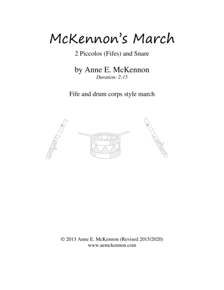 McKennon's March (2 fifes/piccolos and opt. snare drum)