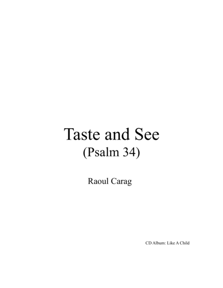 Taste and See (Psalm 34)