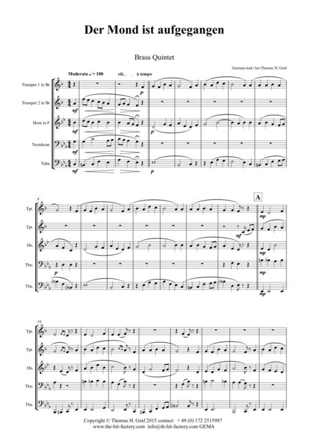Der Mond ist aufgegangen - German Folk Song - Brass Quintet