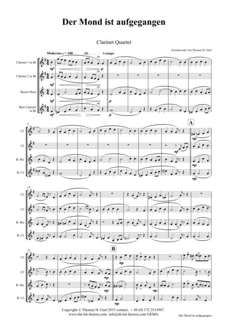 Der Mond ist aufgegangen - German Folk Song - Clarinet Quartet