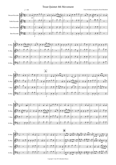 The Trout (4th Movement) for Recorder Quartet
