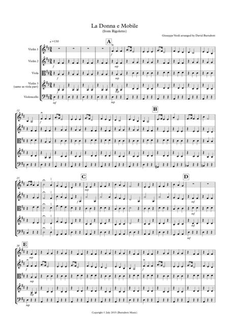 La Donna e Mobile (from Rigoletto) for String Quartet