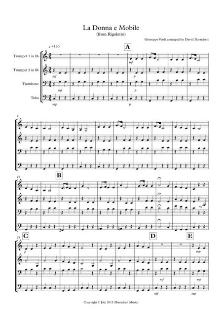 La donna e Mobile (from Rigoletto) for Brass Quartet