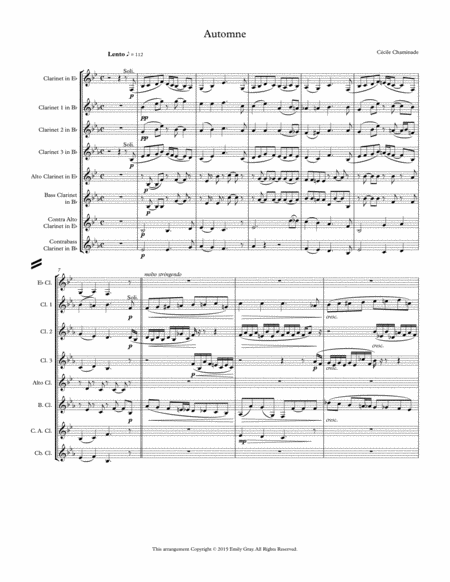Automne for Clarinet Choir (Score)