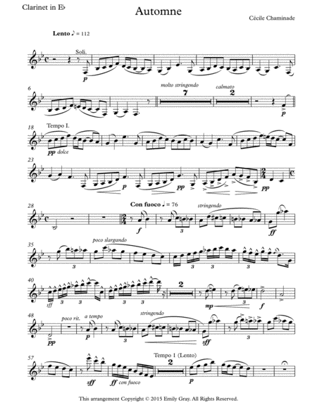Automne for Clarinet Choir (Parts)
