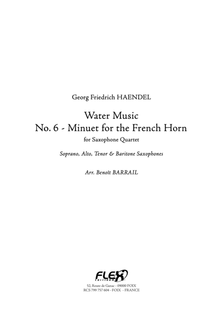 Water Music - No. 6 - Minuet for the French Horn