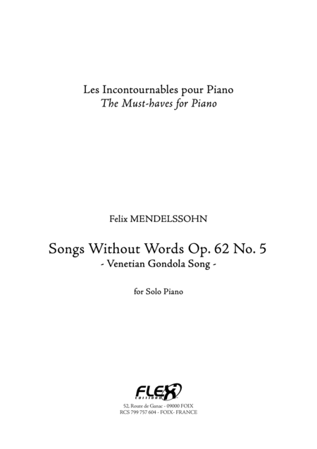 Songs without Words Op. 62 No. 5 - Venetian Gondola Song