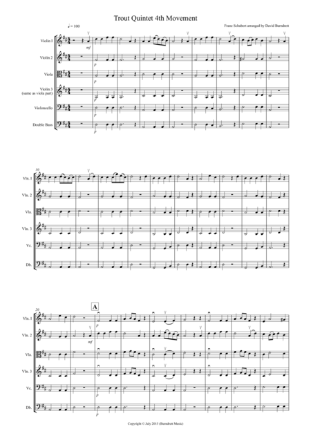 The Trout (4th Movement) for String Orchestra