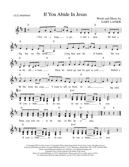 IF YOU ABIDE IN JESUS (Lead Sheet with melody, chords & lyrics)