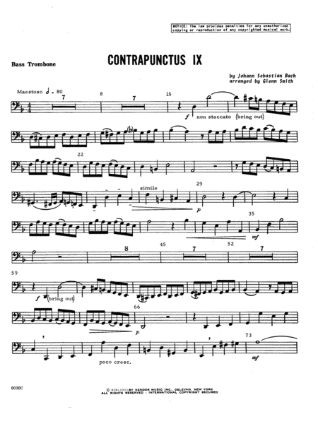 Contrapunctus IX - Bass Trombone