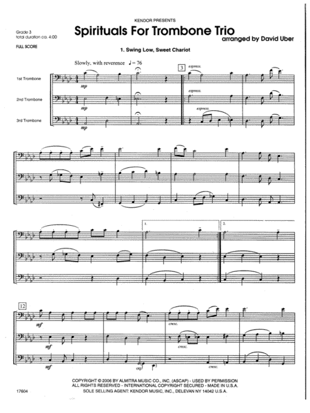 Spirituals For Trombone Trio - Full Score