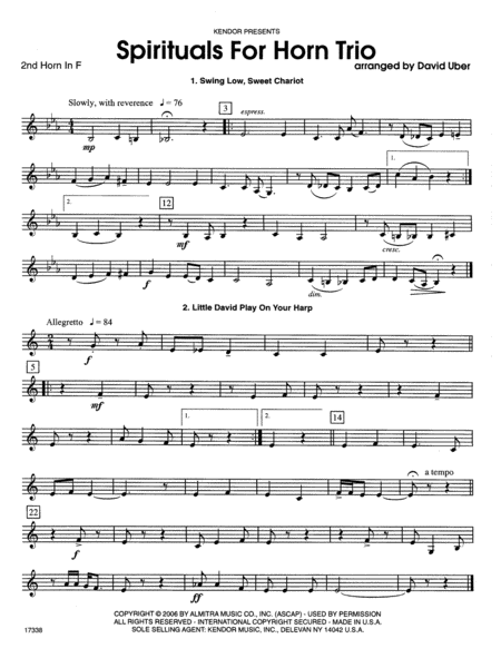 Spirituals For Horn Trio - 2nd Horn in F