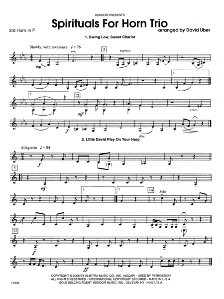 Spirituals For Horn Trio - 3rd Horn in F
